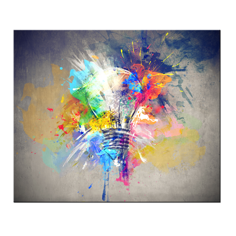 Abstract bulb lights creative home decor painting canvas for Creative mural art