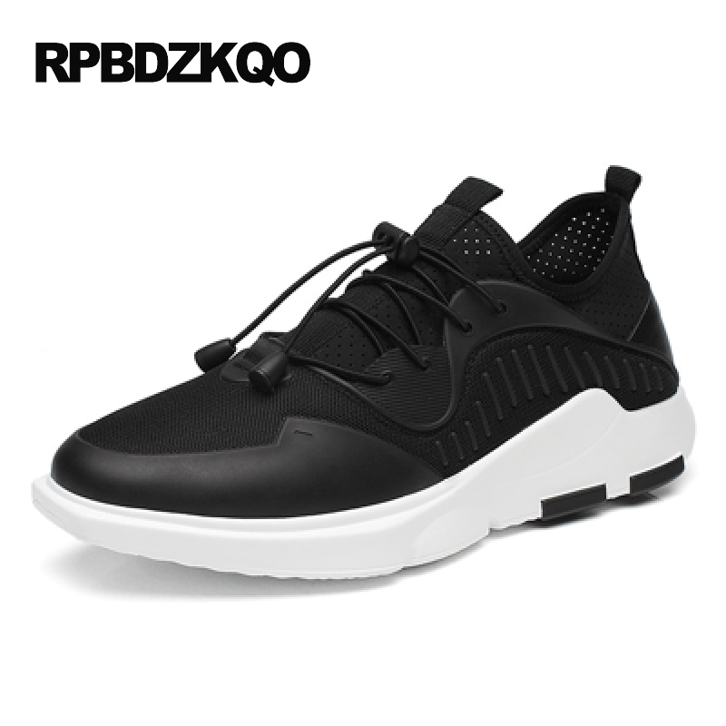 Lightweight Trainers Spring Comfort Skate 2017 Summer Breathable Mesh Casual Shoes Platform Men Walking Black Sneakers Elevator men running shoes breathable summer spring leather walking sports shoes lightweight trainers athletic sneakers m41108