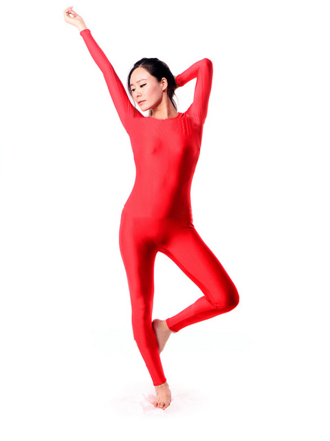 03b8b5a9fb7f Free Shipping Red Spandex Lycra Zentai Catsuit Jumpsuit 2nd Skin Suit  Catsuit Party Halloween Adult Costumes