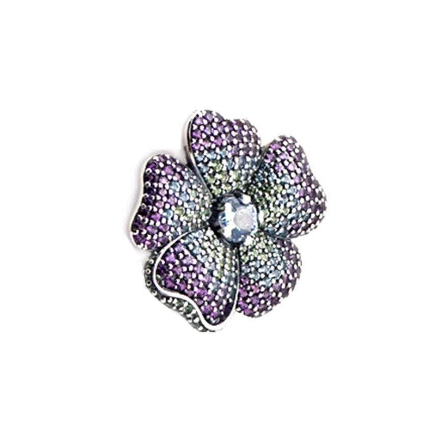 Adapte pour Pandora Collier Glorieux Fleur Pendentif avec cz charmes Nouveau 100% 925 Bijoux En Argent Sterling Accessoires Livraison Gratuite