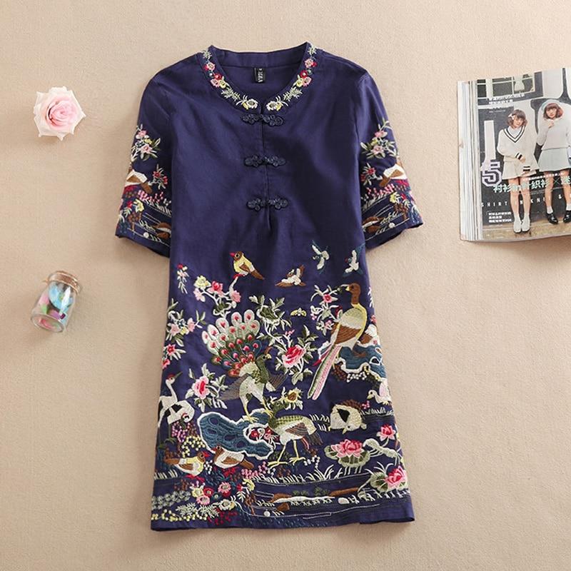 New women summer casual Embroidery short sleeve Floral blouses dresses shirts long feminino tops vintage short dress