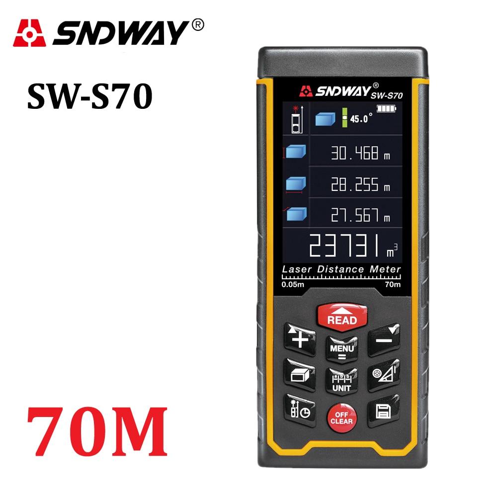 SNDWAY Ricaricabile 70 m display a Colori ad alta precisione telemetro Laser tester di distanza di trena misura di nastro Laser Distanziometro