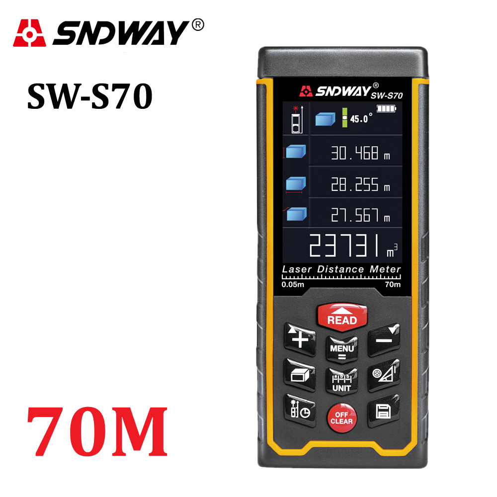 Sndway recargable 70 m color de alta precisión telémetro láser distancia medidor trena láser cinta métrica diastimeter