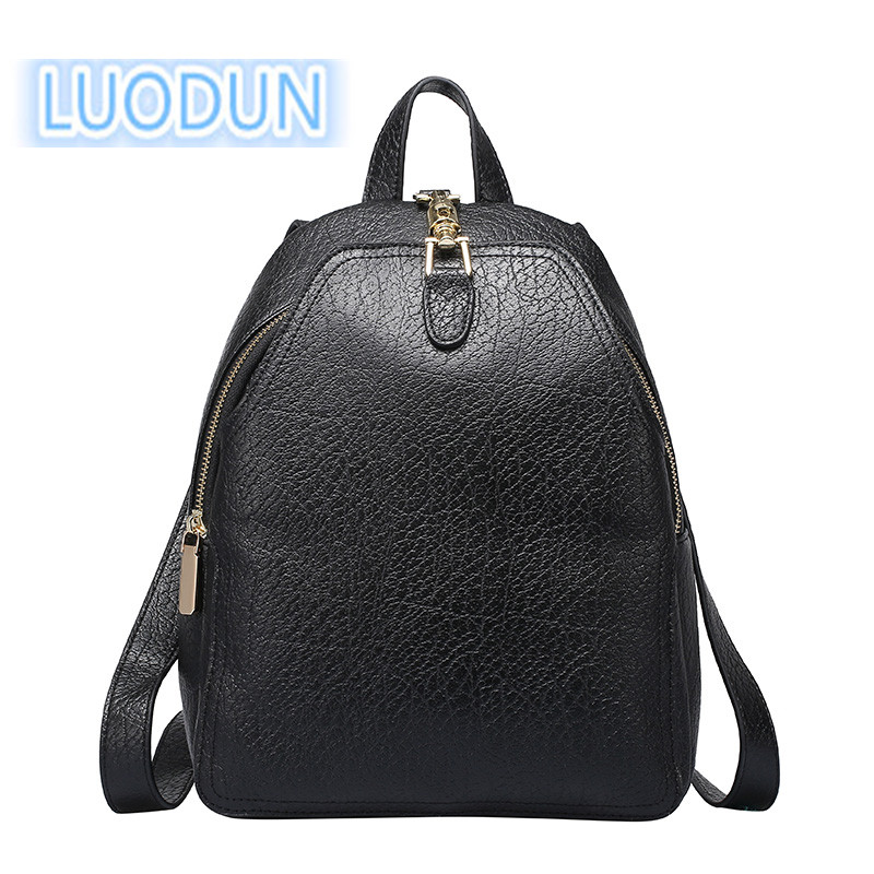 LUODUN casual spring and summer Genuine Leather backpack new first layer of cowhide leather ladies travel backpack school bag 2209 wholesale 2017 new spring and summer man casual backpack wave packet multi function oxford backpack