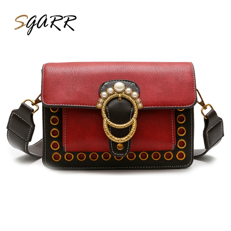 SGARR Fashion Rivet PU Leather Women Messenger Bags High Quality Ladies Bucket Bag Famous Brands Female Crossbody Shoulder Bags bailar fashion women shoulder handbags messenger bags button rivets totes high quality pu leather crossbody famous brand bag