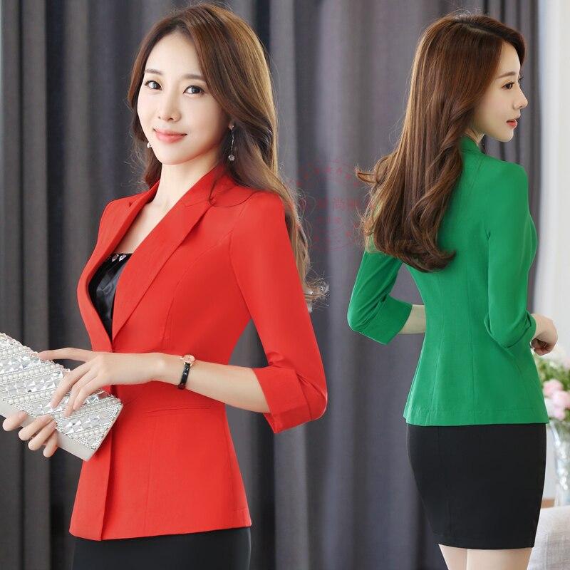 Long/ 3/4 Sleeve Blazer Women Ladies Blazers Sleeve OL Business Office Suit Jackets Female Pink White Black Blaser Femme