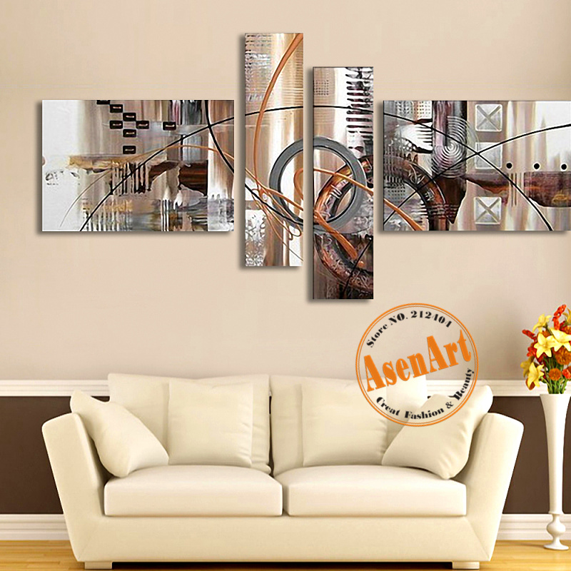 4pcs Canvas Art Hand Painted Abstract Oil Painting Wall Pictures For Living R