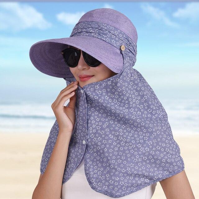 Женский складной тенденция двойного назначения sunbonnet большой пляж крышка анти-уф шляпа солнца на открытом воздухе женщин вс шляпа полная защита