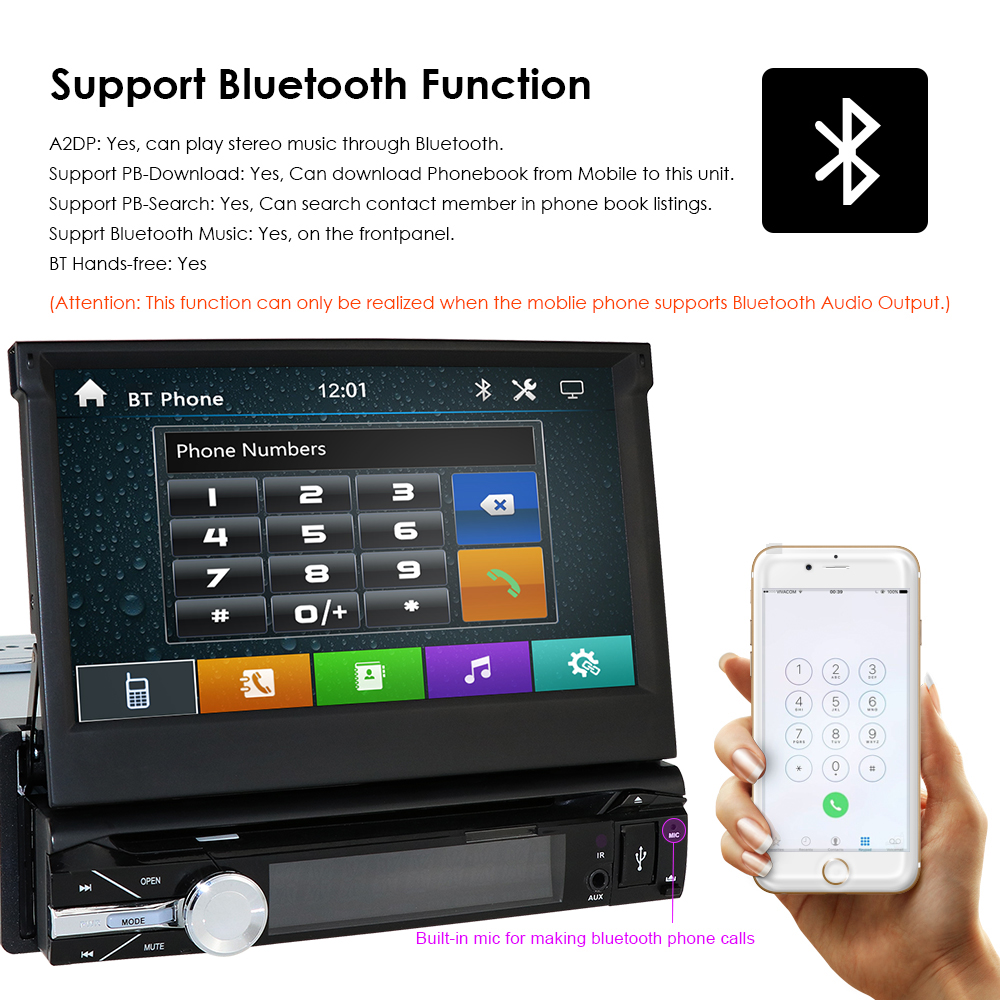 Navigation 1 universal Rear for 1din SD View Music Din CAM Car HIZPO Camera Navi USB Bluetooth Radio player GPS DVD Auto 4