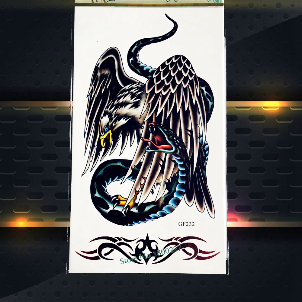 3D Snake Print Eagle Fake Flash Tattoo Stickers Kids Waterproof Temporary Tattoo Men Totem PGF232 Body Art Shoulder Legs Tattoos