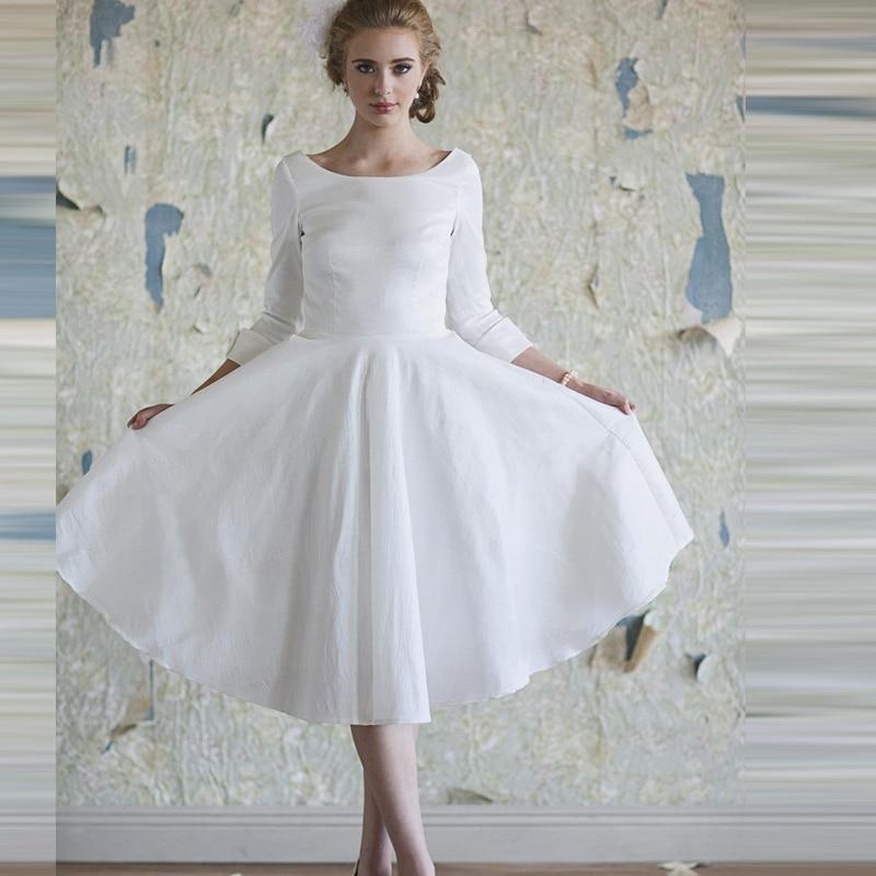 chiffon Wedding Dresses With Pockets Three Quarter Sleeve Tea Length ...