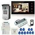 7 дюймов Сенсорный Экран LCD Цветной Видео-Телефон Двери Домофон 1 Монитор + 1 RFID Доступа ИК-Камеры + электрический Магнитный Замок