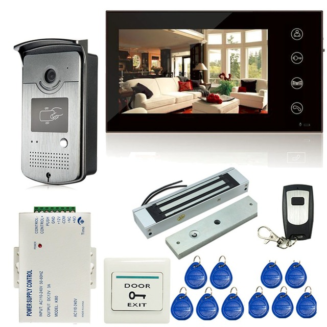 7 inch Touch Screen LCD Color Video Door Phone Intercom Entry System 1 Monitor+1 RFID Access IR Camera+Electric Magnetic Lock