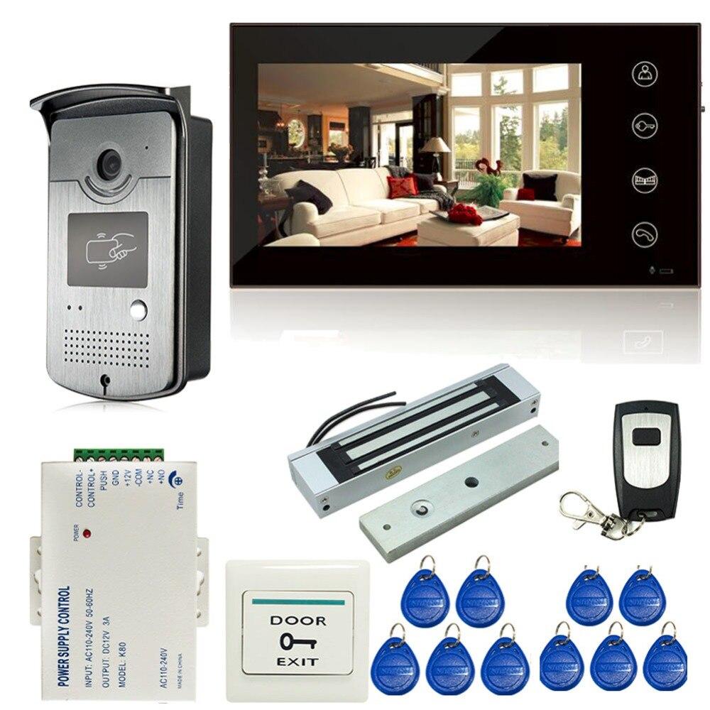 7 pouce Tactile Écran LCD Couleur Vidéo Porte Téléphone Interphone Système D'entrée 1 Moniteur + 1 RFID Accès HD Caméra + électrique Serrure Magnétique