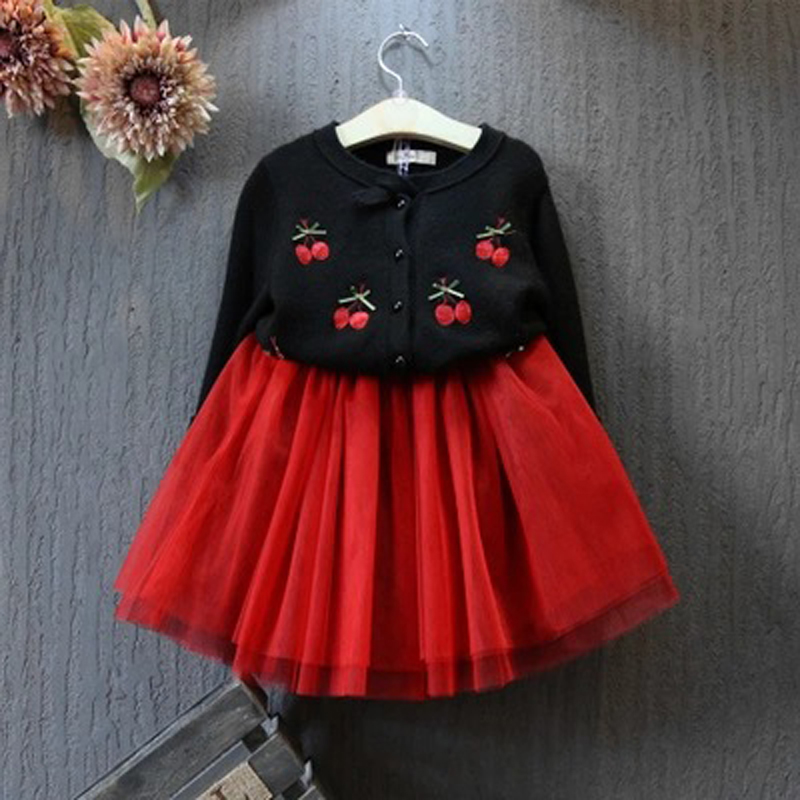 children clothing sets 2017 new girls clothes sets top cherry printed knitted sweater for girls+red mesh skirt 2pcs kids clothes school girls brand cardigan clothes sets knitted sweater wave skirt 2pcs winter autumn warm children clothing kids outfits w75