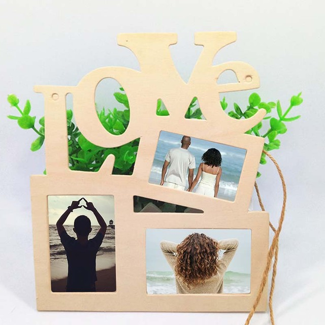 Hot 2019 Romantico Gift Wooden Love Photo Picture Frame SUZ Home Decorations DIY Design art Wall Tri-ply Blank Painting White