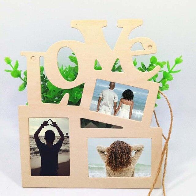Presente quente 2019 Romantico Amor Photo Frame de Retrato De Madeira SUZ Decorações Home DIY Projeto da arte Parede Tri-ply Branco pintura Branca