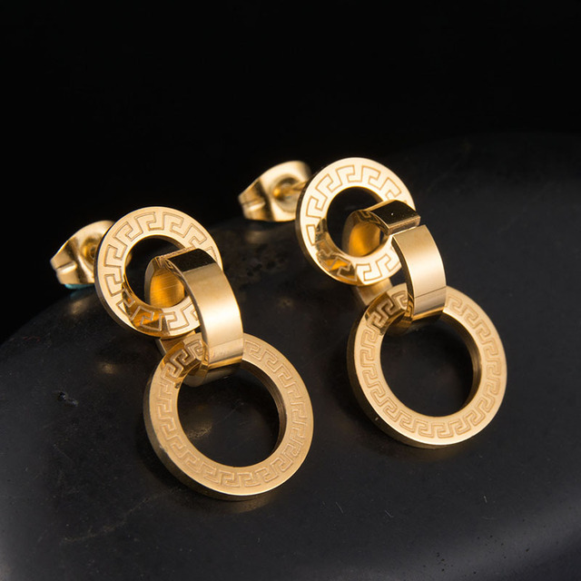 Top Quality Never Fade Gold Color Engraving Earrings 316l Stainless Steel Stud For Gift