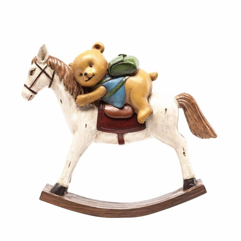Creative Resin Retro Bear Rocking Horse Desktop Decoration Home Kids Room Office Accessories Ornaments Nordic Crafts Gifts