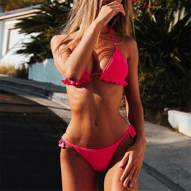 Summer Swimwear Sexy Bathing Suit Women Brazilian Bikini Mini Bikinis Beach Women Two Piece Swimsuit Ruffle Ladies Swimming Suit
