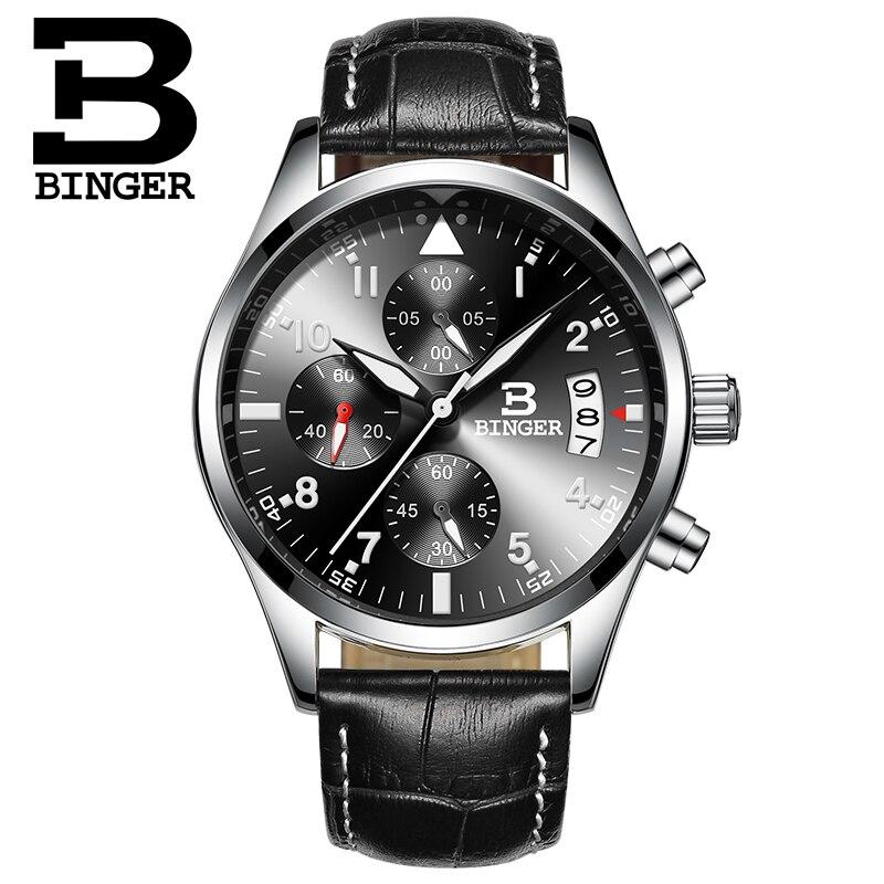 Binger CHRONOGRAPH & 24 Hours Function Sport Watch Leather Black Luxury Men Watch Men Top Brand Military Watch relogio masculino