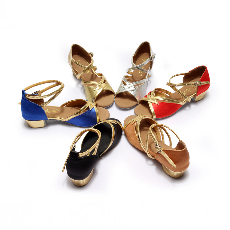 Ballroom Salsa tango latin dance shoes low heels dancing for kids piger børn kvinder damer på lager
