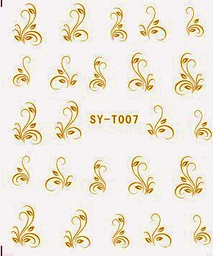 6 PACKS / LOT Gold Silver Water Stickers Metallic Nail Decals FLOWER BEE LYLY FORGET ME NOT SYT007-012 forget me not 7