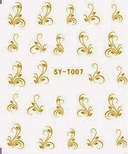 6 упаковок/партия цвета: золотистый, серебристый воды Наклейки металлик для ногтей наклейки цветок пчела Лили Forget Me Not syt007-012