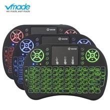 Vmade i8 с подсветкой клавиатуры Русский Испанский 3 цвета мини Беспроводной воздуха Мышь 2,4 ГГц сенсорная панель для ноутбука для Android TV Box X96