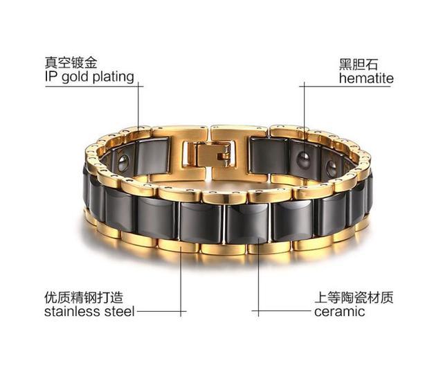 new Tungsten Bracelet Men, Health Care Black Magnet Bracelets & Bangles Gift, Plated Gold Bracelets for Women Men Jewelry
