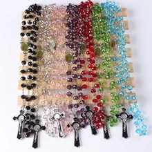 2016 fashion crystal round bead catholic rosary colorful quality bead   Silver Plated Free shipping