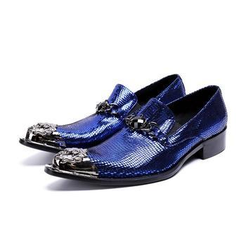Junsam Brand Italian Snake Pattern Wedding Men Dress Shoes Blue Genuine Leather Business Men Formal Shoes Plus Size Oxford