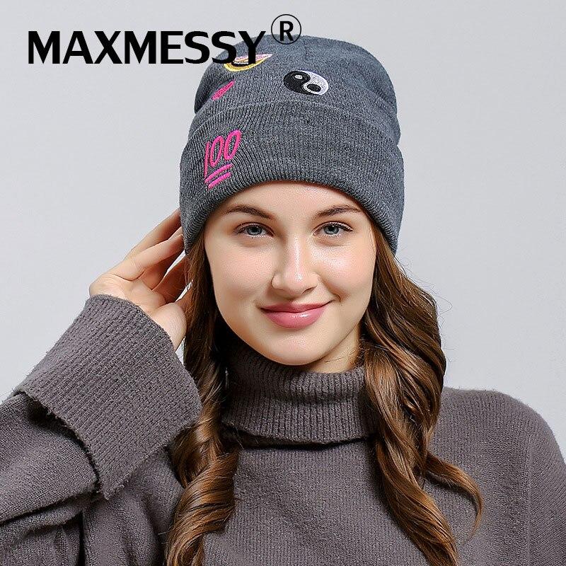 MAXMESSY 2017 FASHION Knit   Skullies     Beanie   Emoji Emoticon Embroidery Women Winter Grey Baggy Wool Hat MH116