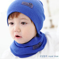 2pcs Style Solid Set Caps + Scarf Suits Leather Sign Baby Girls Boys Babies Beanie Spring Winter Autumn Warm Knit Hat with Scarf