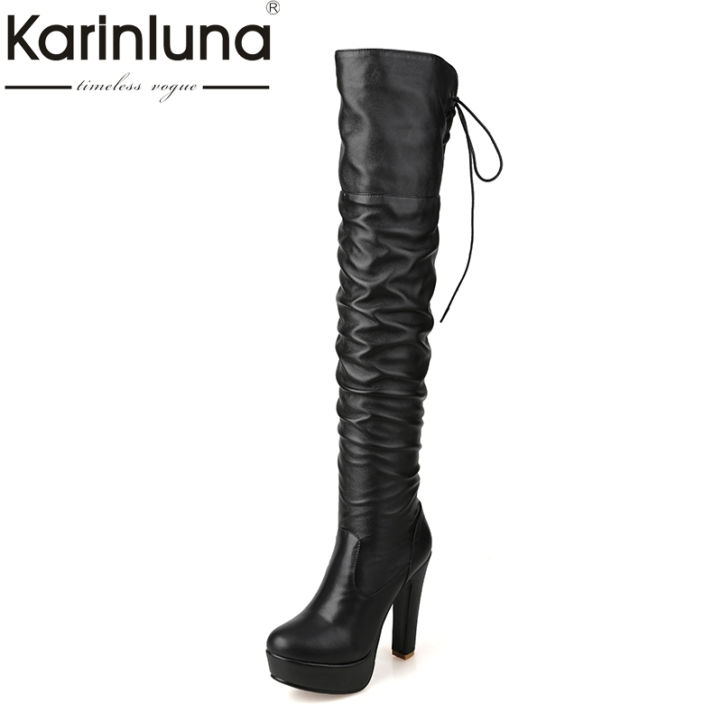 KARINLUNA Large Size 34-43 Add Warm Plush Super High Heels Woman Shoes Women Sexy Over The Knee Boots Slip On Black Platform doratasia 2017 large size 34 47 sexy riband over the knee thin high heels women shoes super high heel party boots woman platform