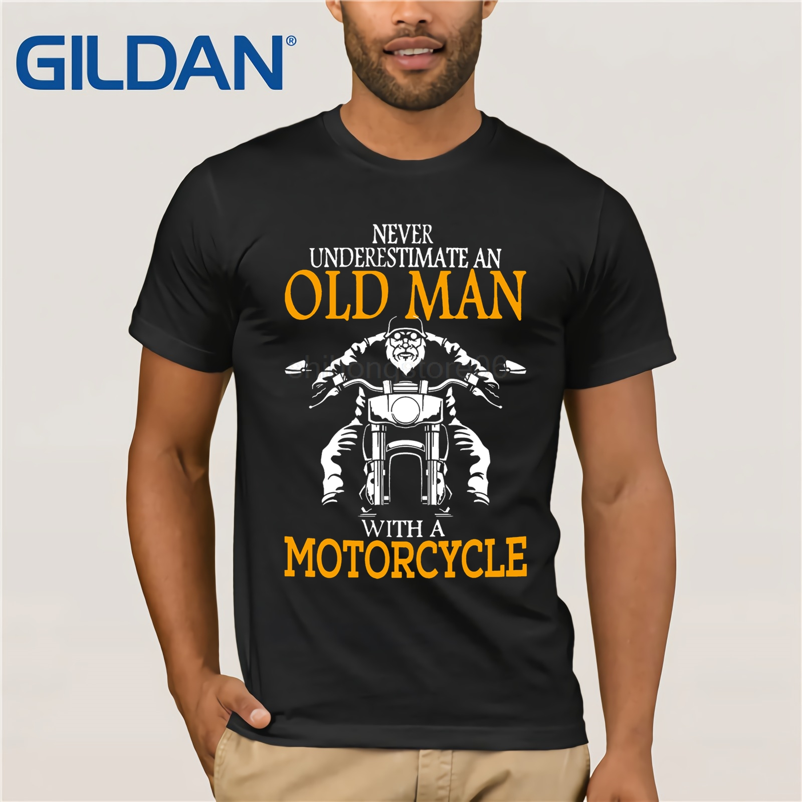 BIRTHDAY   T     SHIRT   NEVER UNDERESTIMATE MOTORCYCLE FUNNY DAD GRANDAD CHRISTMAS BIKER
