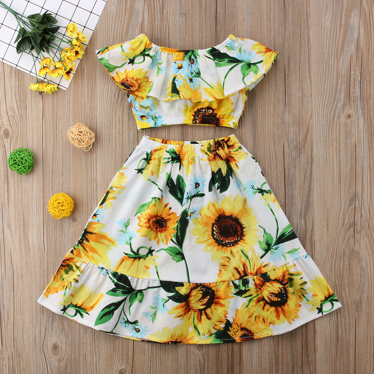 14f68a7953a4 2018 SunFlowers Toddler Kids Baby Girls Off Shoulder Crop Collar Tops Skirt  Outfits Clothes Summer Fashion Set-in Clothing Sets from Mother & Kids on  ...