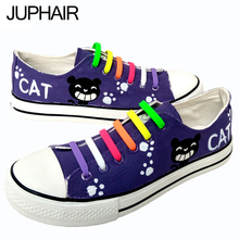 JUP Mens Mans New Arrival Canvas Outdoor Shoes Cat Despicable Me Minions Style Purple Hand painted