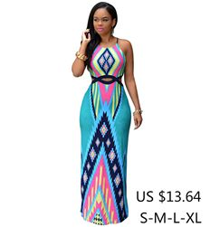 52d5c9f2586e2 2017 Women Summer Long Bodycon Dress Halter Maxi Dresses Split Robe Sexy  Hollow Out Vintage Print Party Woman Dashiki Dress-in Dresses from Women's  ...