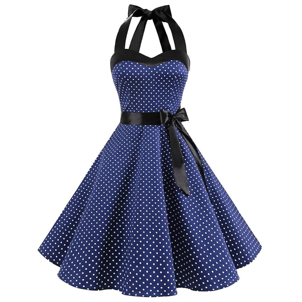 Women's Vintage Sleeveless Halter Neck Backless Sexy Strap Cotton Dress  Audrey Hepburn Style 1950S Dresses Dresses  - AliExpress