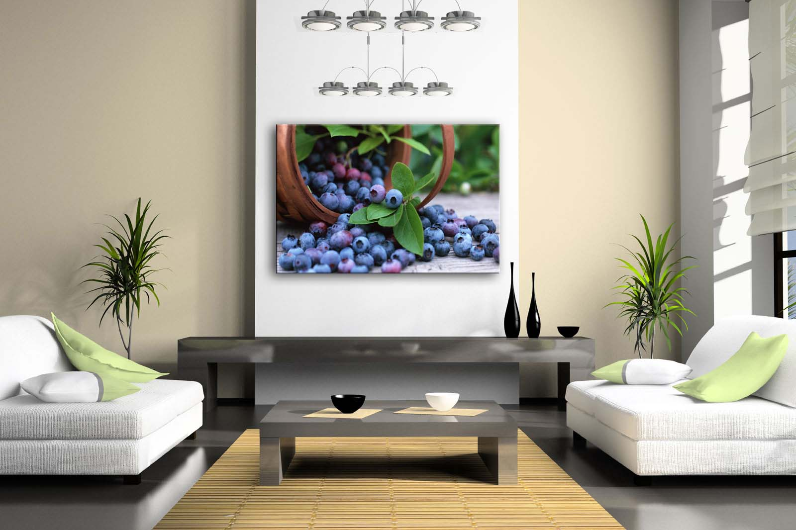 Framed Wall Art Pictures Blueberry Basket Canvas Print Food Modern Posters With Wooden Frames For Home Living Room Decor - 2