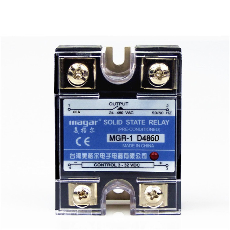 Mager SSR-60A DC-AC MGR-1 D4860 Single Phase Solid State Relay input 3-32VDC