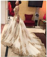Luxury White Tulle With Gold Appliques Long Sleeves A Line Evening Dresses Long 2019 Scoop Beaded Sweep Train Prom Gowns