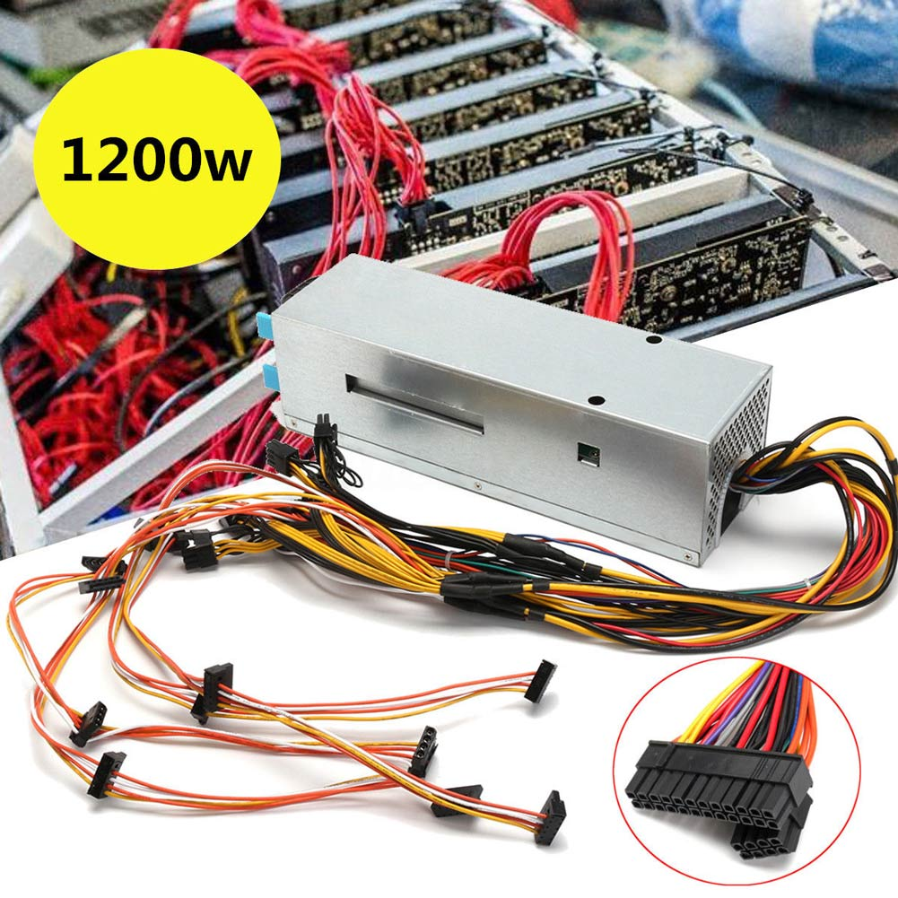 1200W 6 GPU 24 Pins Mining Power Supply for ETH Rig Ethereum BTC Coin Miner XXM8 new hot breakout board 10pcs cable for hp 1200w 750w power module mining ethereum qjy99