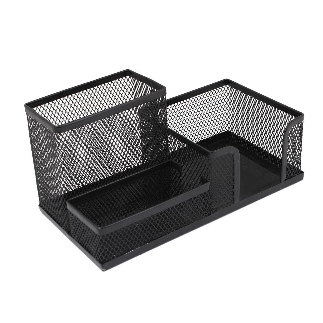 Black Cube Metal Stand Mesh Style Pen Pencil Ruler Holder Desk Organizer Storage