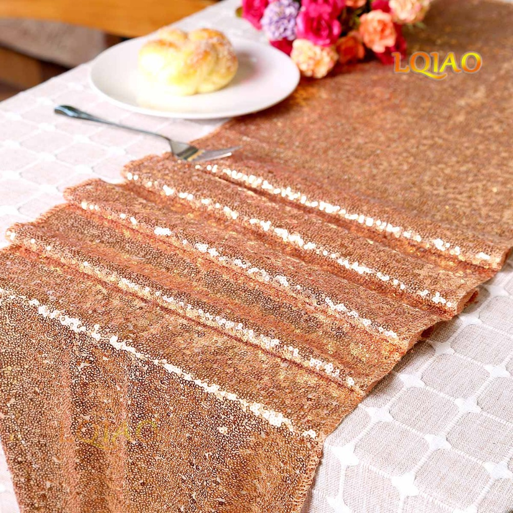 12 x 108 Inch Sparkly Rose Gold Sequin Table Runner (Hem Edge) for Wedding Party Bridal Shower Baby Shower Christmas Decorations table
