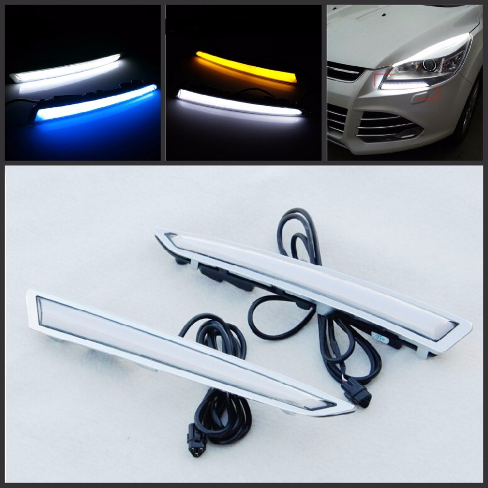 ФОТО 2pcs/lot Car LIGHT GUIDE Style DRL LED Daytime Running Light with Dimmer Function for FORD Kuga Escape 2013 2015 Free Shipping