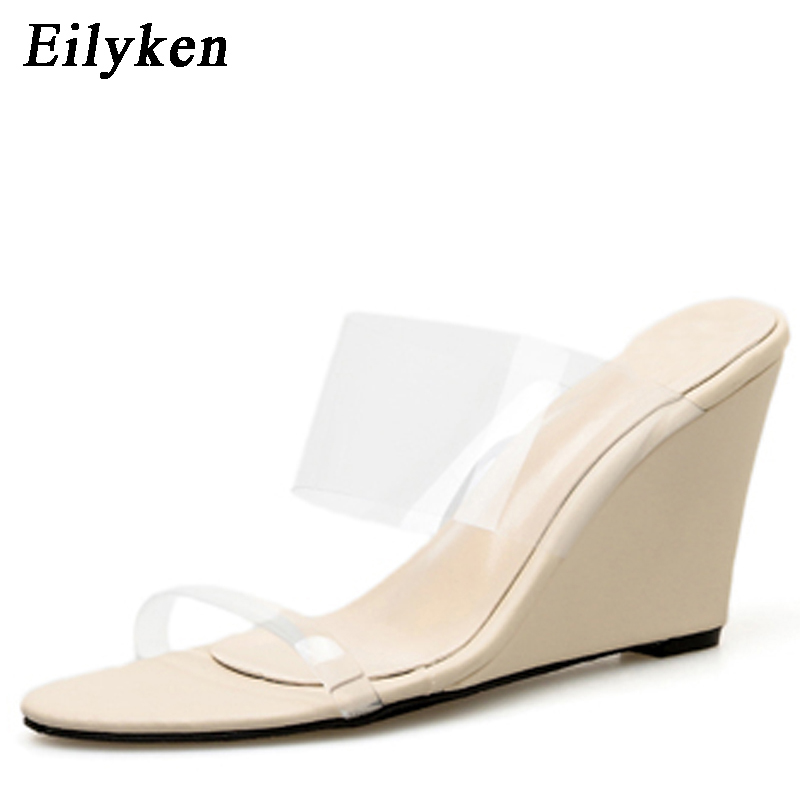 Eilyken 2019 New Arrival PVC transparent Wedges Sandals Women slippers Peep Toe Stiletto Casual Sandals Shoes Apricot BlackEilyken 2019 New Arrival PVC transparent Wedges Sandals Women slippers Peep Toe Stiletto Casual Sandals Shoes Apricot Black