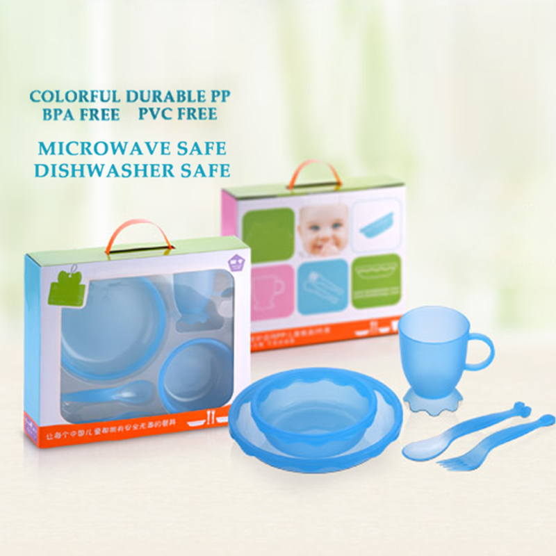 New Children Tableware BPA Free Plastic Baby Food Set Kids Dinnerware Plate Bowl Cup Fork Spoon Infant Dishes For Toddlers Baby (9)
