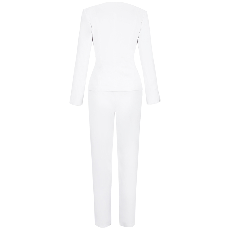 Deer Lady Women 2 Piece Set Top And Pants 2019 Summer Party white Long Sleeve Suit Office Sexy High Waist Pants Set Club